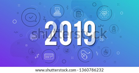 Infographic concept. Smile, Receive money and Hospital nurse icons simple set. Computer mouse, Patient history and Approved message signs. Atm, Water care and Credit card symbols. 2019 year. Vector