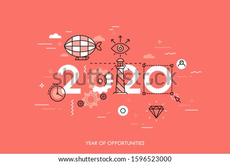 Infographic concept 2020 year of opportunities. Hot trends and perspectives in travel and adventure tourism industry, navigation tools, leisure activities. Vector illustration in thin line style.