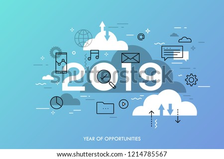 Infographic concept, 2019 - year of opportunities. Hot trends, prospects in cloud computing services and technologies, big data storage, communication. Vector illustration in thin line style.
