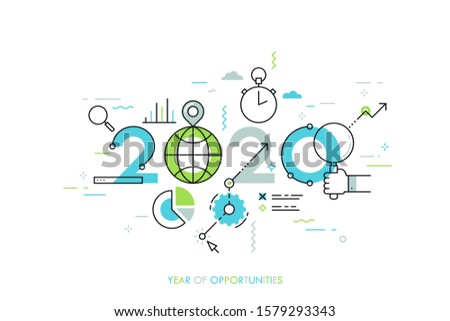 Infographic concept 2020 year of opportunities. New global trends and perspectives in online search, internet tools for business and project management. Vector illustration in thin line style.