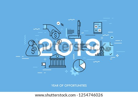 Infographic concept, 2019 - year of opportunities. New hot trends and predictions in economics, budget planning, money saving, tax and credit debt paying off. Vector illustration in thin line style.