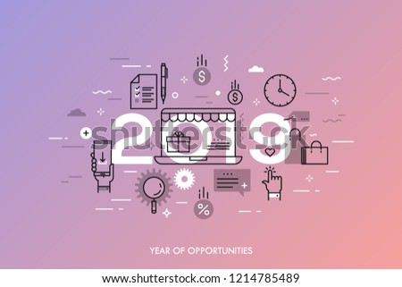 Infographic concept, 2019 - year of opportunities. New plans and predictions in online shopping, electronic commerce, internet retailers, sales, discounts. Vector illustration in thin line style.