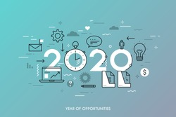 Infographic concept, 2020 - year of opportunities. New trends and prospects in business development, office work, time management, profit growth strategies. Vector illustration in thin line style.
