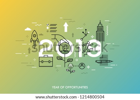 Infographic concept, 2019 - year of opportunities. New trends and prospects in career building, job searching, headhunting, recruitment or employment services. Vector illustration in thin line style.