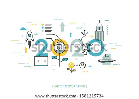 Infographic concept, 2020 - year of opportunities. New trends and prospects in career building, job searching, headhunting, recruitment or employment services. Vector illustration in thin line style.