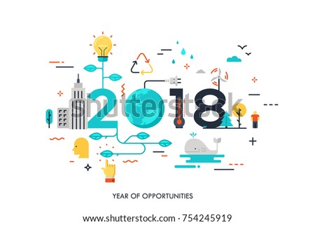 Infographic concept 2018 year of opportunities. New trends and prospects in environmental and eco-friendly technologies, energy saving, ecological recycling. Vector illustration in flat style.