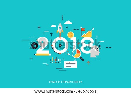 Infographic concept 2018 year of opportunities. New trends and prospects in startups, business development, profit growth strategies. Plans and expectations. Vector illustration in flat style.