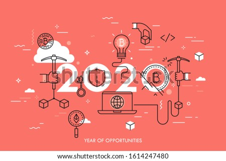 Infographic concept, 2020 - year of opportunities. New trends, plans and perspectives in bitcoin and alternative crypto currencies mining pools, technology. Vector illustration in thin line style.