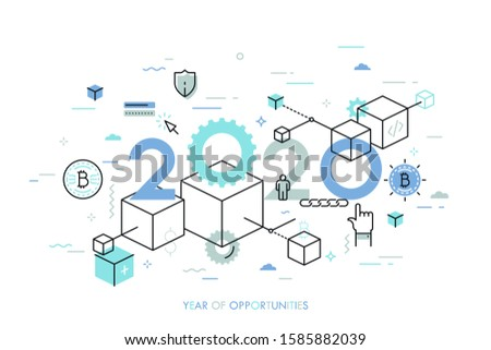 Infographic concept, 2020 - year of opportunities. New trends, plans and perspectives in blockchain technologies, crypto currencies mining, digital assets. Vector illustration in thin line style.