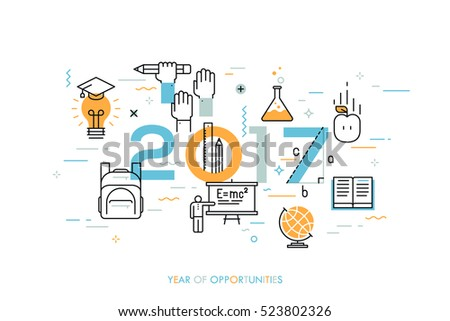 Infographic concept: 2017 - year of opportunities. New trends, prospects and predictions in science, scientific studies, schooling system and higher education. Vector illustration in thin line style.
