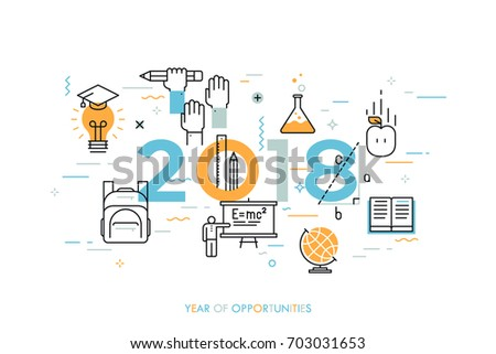 Infographic concept, 2018 - year of opportunities. New trends, prospects and predictions in science, scientific studies, schooling system and higher education. Vector illustration in thin line style.