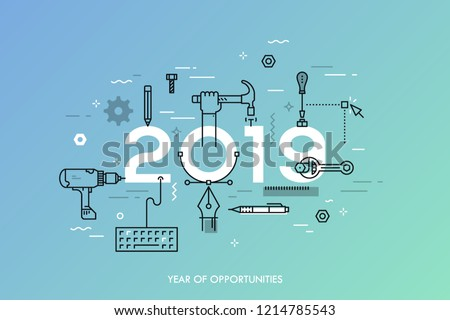 Infographic concept, 2019 - year of opportunities. Plans, trends and prospects in repairs, home remodeling, renovation and improvement, manual work tools. Vector illustration in thin line style.