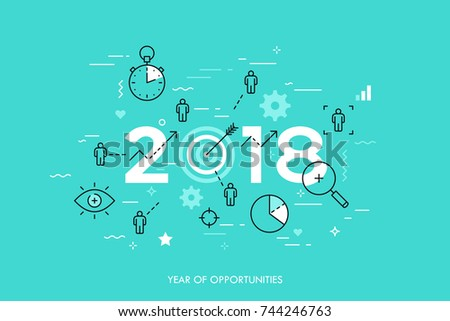 Infographic concept, 2018 - year of opportunities. Plans, trends and prospects in time management, goal setting and achievement, targeting, effective team work. Vector illustration in thin line style.