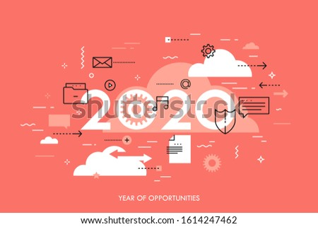 Infographic concept, 2020 - year of opportunities. Trends and perspectives in cloud computing services and technologies, big data storage and transfer. Creative vector illustration for web banner.