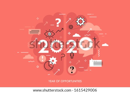 Infographic concept, 2020 - year of opportunities. Trends and perspectives in neuroscience studies, neuroplasticity and creativity research. Vector illustration in thin line style for banner.