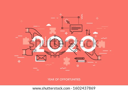 Infographic concept, 2020 - year of opportunities. Trends and perspectives in time management, effective daily planning, coordinated work and cooperation. Vector illustration in thin line style.