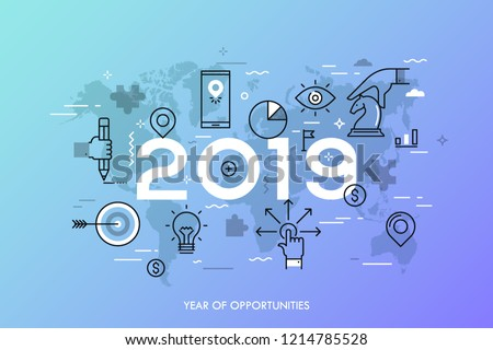 Infographic concept, 2019 - year of opportunities. Trends and predictions in international business expansion strategies, market entry, strategic planning. Vector illustration in thin line style.