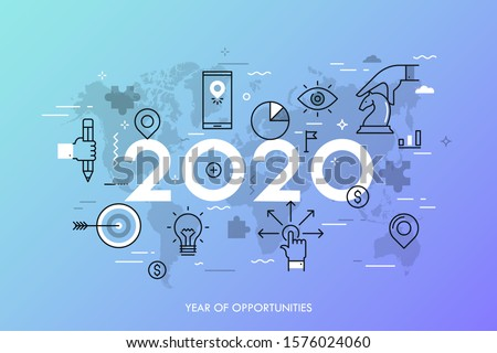 Infographic concept, 2020 - year of opportunities. Trends and predictions in international business expansion strategies, market entry, strategic planning. Vector illustration in thin line style.