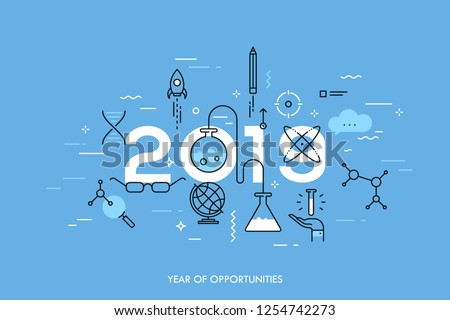 Infographic concept, 2019 - year of opportunities. Trends and predictions in science, education, scientific studies and discoveries, research, development. Vector illustration in thin line style.