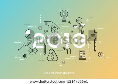 Infographic concept, 2019 - year of opportunities. Trends and prospects in economics, taxation, budget planning, money calculation and saving, personal banking. Vector illustration in thin line style.