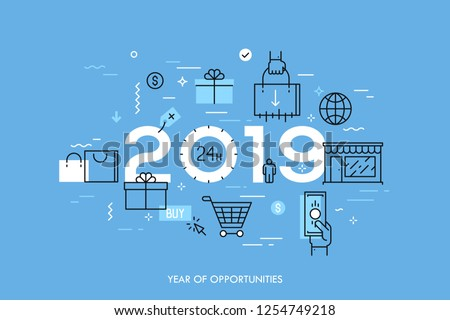 Infographic concept, 2019 - year of opportunities. Trends and prospects in online and offline shopping, electronic retailers, internet shops and discounts. Vector illustration in thin line style.