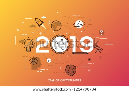 Infographic concept, 2019 - year of opportunities. Trends and prospects in space research and exploration, scientific studies, astronomy, spacecraft launches. Vector illustration in thin line style.