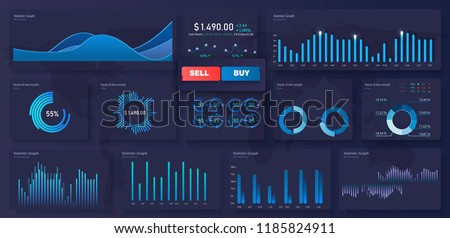 Infographic dashboard template with flat design graphs and pie charts. Information Graphics elements for UI UX design. Web elements in moden style. Modern modern infographic vector template.