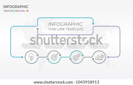 Infographic design chart template with circle 4 options.