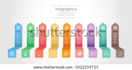 Infographic design elements for your business data with 9 options, parts, steps, timelines or processes. Vector Illustration.