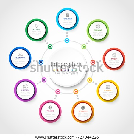 Infographic design elements for your business data with 9 options, parts, steps, timelines or processes, Circle round concept. Vector Illustration.