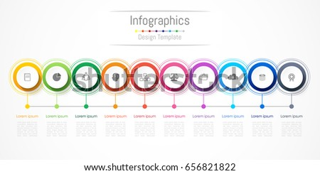 Infographic design elements for your business with 10 options, parts, steps or processes, Vector Illustration.