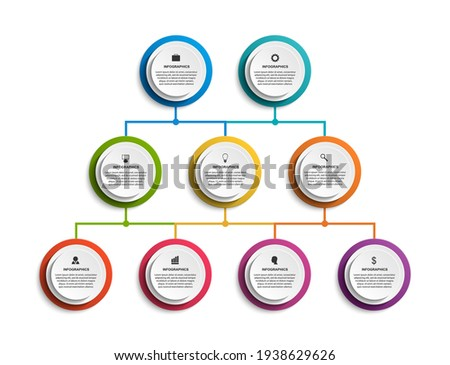 Infographic design organization chart template for business presentations, information banner, timeline or web design. Photo stock ©