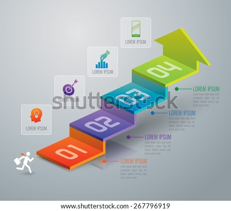 Infographic design template and marketing icons, Business concept with 4 options, parts, steps or processes. Can be used for workflow layout, diagram, number options, web design.
