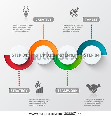 Infographic design template and marketing icons. Template for diagram, graph, presentation and round chart. Business concept with 4 options, parts, steps or processes. Data visualization.