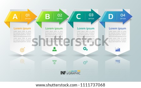 Infographic design template, Business concept with 4 steps or options, can be used for workflow layout, diagram, annual report, web design. Creative banner,label vector.