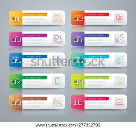 Infographic design template can be used for workflow layout, diagram, number options, web design. Infographic business concept with 10 options, parts, steps or processes. Abstract background.