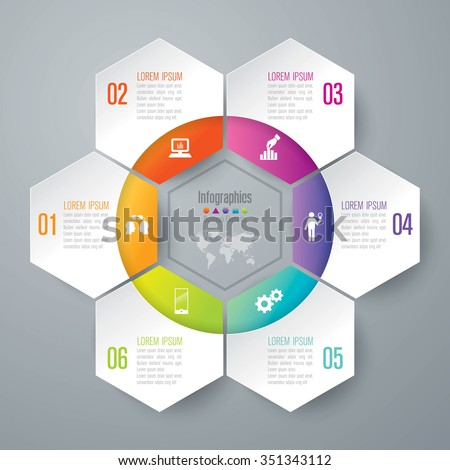 Infographic design template can be used for workflow layout, diagram, number options, web design. Infographic business concept with 6 options, parts, steps or processes. Abstract background.