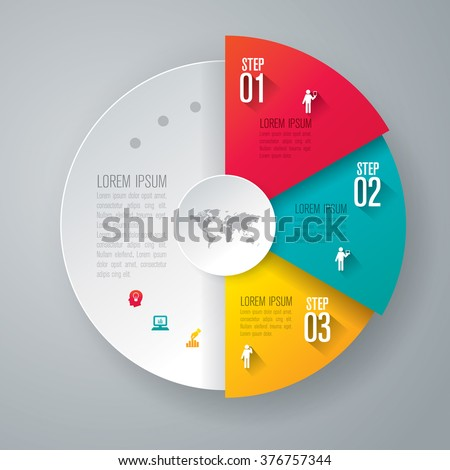 Infographic design template can be used for workflow layout, diagram, number options, web design. Infographic business concept with 3 options, parts, steps or processes. Abstract background.