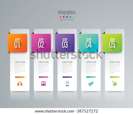 Infographic design template can be used for workflow layout, diagram, number options, web design. Infographic business concept with 5 options, parts, steps or processes. Abstract background.
