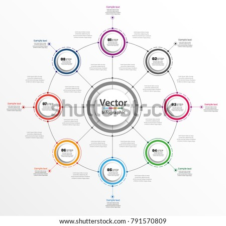 Infographic design template can be used for workflow layout, diagram, number options, web design. Infographic business concept with 8 options, parts, steps or processes. Vector eps 10