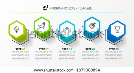 Infographic design template. Creative concept with 5 steps. Can be used for workflow layout, diagram, banner, webdesign. Vector illustration Stockfoto ©
