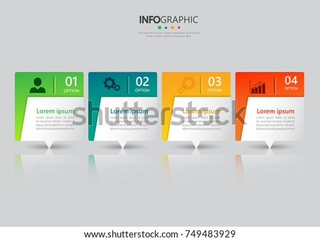 Infographic design template, 3D Business concept with 4 steps or options, can be used for workflow layout, diagram, annual report, web design. Creative banner,label vector
