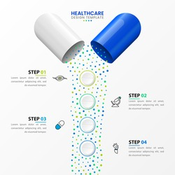 Infographic design template. Healthcare concept with 4 steps. Can be used for workflow layout, diagram, banner, webdesign. Vector illustration