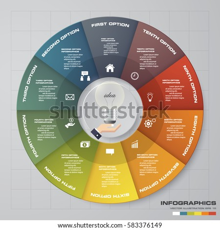 Infographic design template 10 options pie chart and business concept. Can be used for work flow layout, diagram, number options. EPS10.