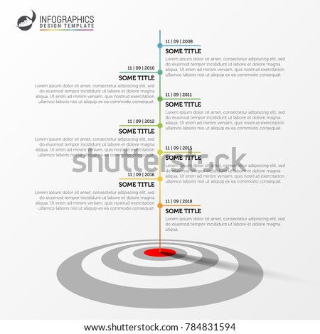 Infographic design template. Timeline concept with target. Vector illustration