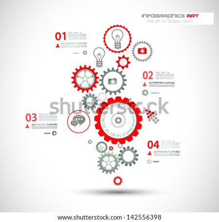 Infographic design template with gear chain Ideal to display information ranking and statistics with orginal and modern style
