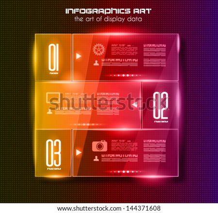 Infographic design template with glass surfaces.and spotlights Ideal to display information ranking and statistics with orginal and modern style