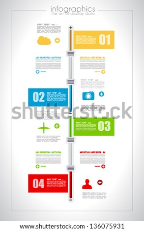 Infographic design template with paper tags Ideal to display information ranking and statistics with orginal and modern style