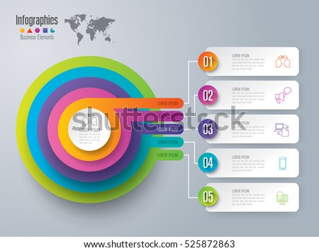 Infographic design vector and marketing icons can be used for workflow layout, diagram, annual report, web design. Business concept with 5 options, steps or processes.