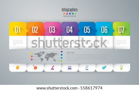 Infographic design vector and marketing icons can be used for workflow layout, diagram, annual report, web design. Business concept with 7 options, steps or processes.